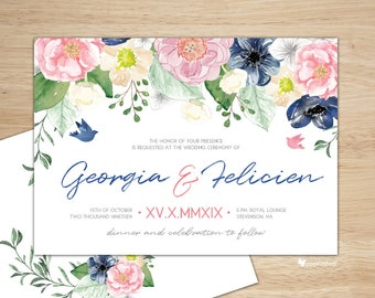 Watercolor Wedding Invitation, Matching RSVP, Garden Wedding Invitation, Floral Wedding Invitation, Summer Wedding Invite, Blossom Wedding