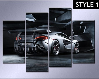 Mclaren Super Car 4 panel canvas