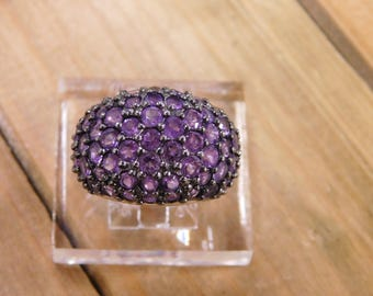 Domed Amethyst Sterling Silver Ring Size 6.5