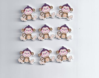 10 pcs Natural Wooden Buttons Cute Monkey Scrapbooking Sewing Accessories (154)