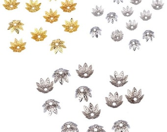 20 pcs 11x11 mm Plated Flower Metal Charms Bead Caps for Jewelry Making (204)