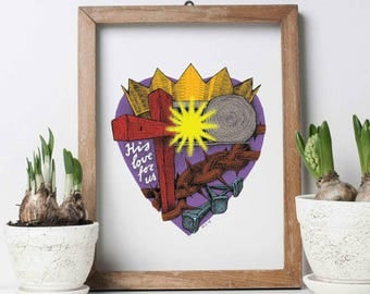 Poster, art print ' His love for us ', rich color, Easter.