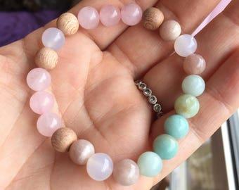 Self Love Mala, rose quartz jewelry, healing bracelet, heart chakra, mala bracelet, gift for her, wrist mala, healing bracelet, boho c