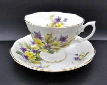 Royal Albert Purple and Yellow Flowers Teacup & Saucer Set Pattern ROA30