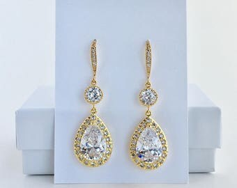 Gold Bridal Earrings Gold Crystal Drop Earrings Gold Wedding Teardrop Earrings Gold Bridal Drop Earrings Gold Bridesmaid Drop Earrings
