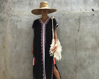 Black kaftan long Dress,Summer,gypsy,hippie, Festival, Holiday,beach cover up, stylish ,resort wear ,Tassel,Women's,Caftan