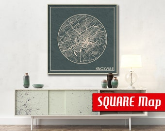 KNOXVILLE TN SQUARE Map Knoxville Tennessee Poster City Map Knoxville Tennessee Art Print Knoxville Tennessee poster Knoxville map