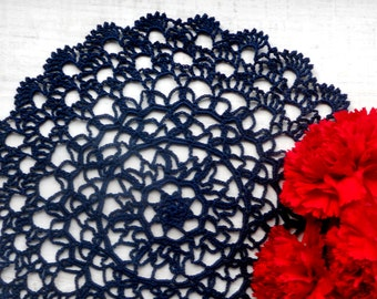 9 inch Crochet Dark Blue Doily, Navy Blue Tablecloth, Navy Blue Interiors Decoration, Gift for Her, Housewarming Gift, Dark Blue Table Decor