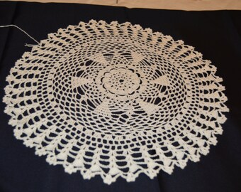"Crocheted 13"" White Doily Hand Made Crochet Item #4113"