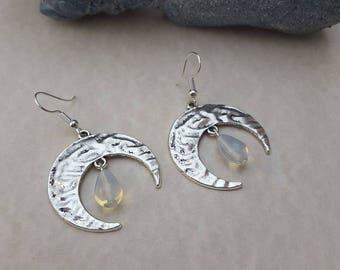 Moon - silver Crescent Moon earrings gemstone earrings gemstone opal earrings Moon earrings