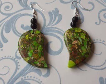 Multicolor earrings, Silver 925 earrings, stone earrings, natural earrings green Jasper earrings