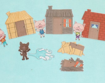 3 Little Pigs Felt Board Activity Set - Toddler Gift - Story time - Tools for storytelling ~ Teaching Activity ~ Circle Time - Storyteller
