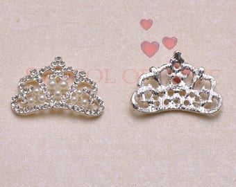 5 crowns of metal and rhinstones flatback 33 mm x 20 mm