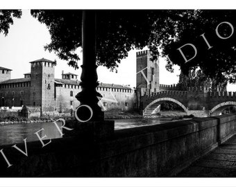 Italy Photography Digital Download Black and White Photography Gothic Old Castle Bridge in Verona Instant Download Photography Printable Art