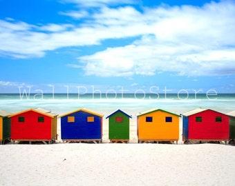 Beach Photography, Colorful Beach Huts - Muizenberg Beach, Cape Town, South Africa, Fine Art Photography, Print Photography, Wall Art