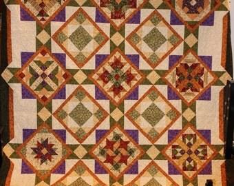 High mountain queen sized sampler quilt