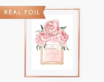 Chanel No 5 Bottle Blush Pink Peonies Real Foil Art Print 11x14, 8x10, 5x7