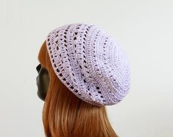 Spring/summer tam hat, crochet beanie, lilac, women, girls, teens, 100% cotton