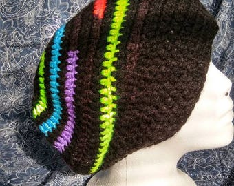 Handmade crochet neon and black slouchy hat