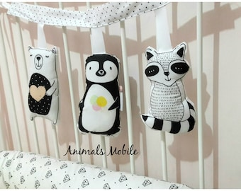 crib mobile, baby mobile, animals mobile. black and white mobile