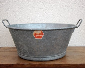 French Vintage Galvanized Basin or Planter.