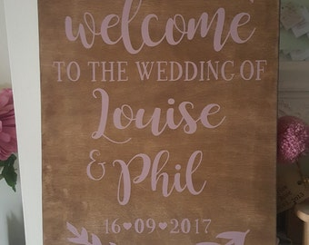 Welcome to the wedding personalised wedding sign rustic chic