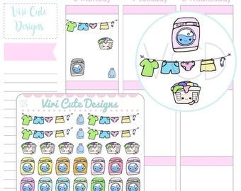 Kawaii Laundry Stickers, Laundry Sticker, Hand drawn Stickers, Chores Stickers, Kawaii stickers, Kawaii Planner Stickers | 074