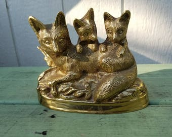 Vintage brass fox figurine