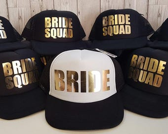 Bride Squad Bridesmaid Hen Party Half Mesh Baseball Trucker Rapper Cap Hat, Bridal Party Caps