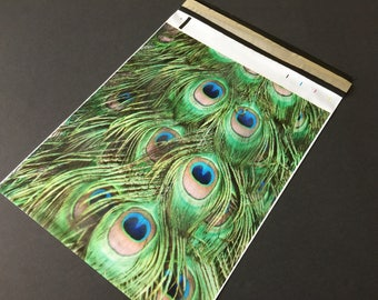 100 Designer NATURAL PEACOCK Feathers  Poly Mailers 10x13  Blue Green Envelopes Shipping Bags