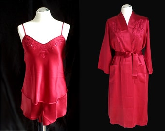 3-piece set of silk, red or blue, nightwear, Gr. M
