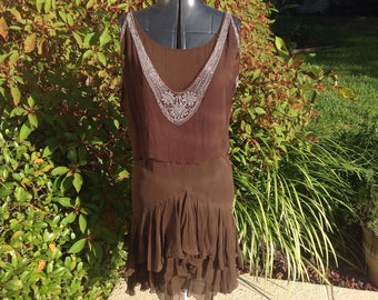 Women's Deconstructed Brown Flapper Dress Costume