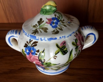 Handpainted Italian Sugar Bowl with Lid. Made in Italy. Ceramic Sugar Bowl with Lid. Floral Design VCH0101