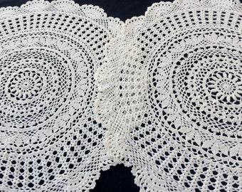 Set of 2 Large Round Crochet Doilies. A Pair of Vintage Lace Doilies. 2 Crocheted Antique Linen White Colour Cotton Lace Doilies. RBT1438