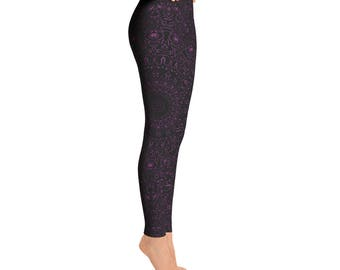 Byzantium Yoga Pants - Black Leggings with Purple Mandala Designs for Women, Printed Leggings, Pattern Yoga Tights
