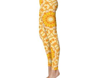 Printed Yoga Tights - Orange and Yellow Yoga Leggings, Yoga Pants, Summer Leggings, Unique Leggings, Womens Stretch Pants