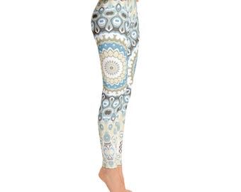Boho Yoga Pants - Beach Leggings, Printed Art Tights, Mandala Yoga Pants, Bohemian Leggings, Patterned Tights, Footless Tights