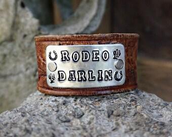 Rodeo Darlin Leather Bracelet Cuff - Cowgirl Bracelet Cuff - Texas Bracelet - Cowgirl Jewelry - Horseshoe Bracelet