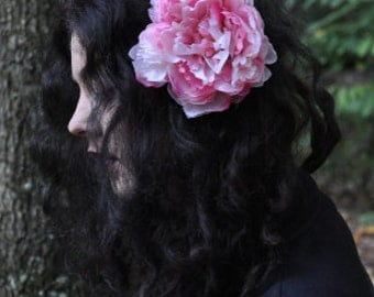 Pink Peony Large Flower Clip  Fascinator Pinup