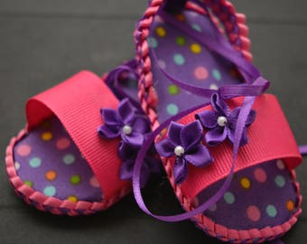 Newborn Pink and Purple baby shoes with matching headband