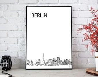 Japan Print | Berlin City Skyline | Printable Download | Minimalist Black and White Illustration