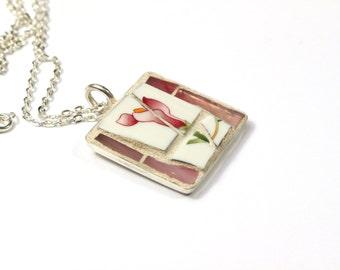 Pink Flower Pendant Necklace, PinkPendant, Mosaic Necklace, Mosaic Pendant, Pink Necklace, Pink Jewellery, Ceramic Pendant, Gift for Sister