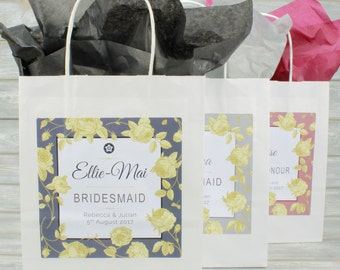 Personalised Wedding Favour Party Gift Bag - Gold Rose Design| Coloured Tissue Paper