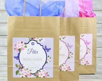Personalised Wedding Favour Party Vintage Brown Gift Bag | Coloured Tissue Paper | Butterfly