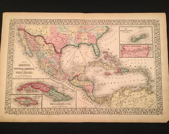1870 Mitchell Map of Mexico Central America & the West Indies, Original Hand-Colored Map, Large Antique Map
