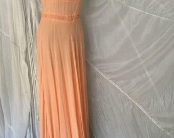 Vintage Chiffon Peach Party Dress