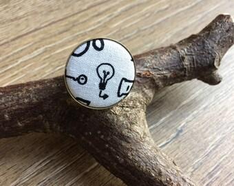 Lightbulb ring, lightbulb print, lightbulb gift, eureka ring, eureka jewellery, eureka gift, science jewellery, science print, science gift