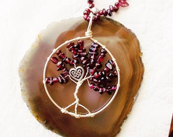 Wire wrapped Tree-of-Life pendant necklace - tree-of-life jewelry - Garnet tree-of-life - tree-of-life - garnet necklace- boho necklace