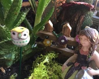 Miniature Yellow Owl Stake, Fairy Garden Stake, Miniature Garden Art, Fairy Garden Yard Art, Terrarium Owl Stake, Flower Pot Stake