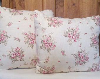 Linen Roses Bouquet Pillow Set